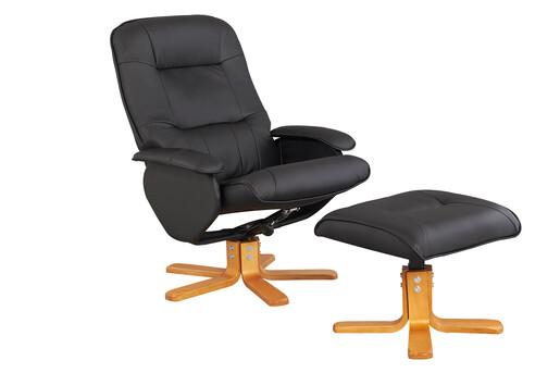 Relaxsessel NILAN mit Hocker aus Kunstleder in schwarz