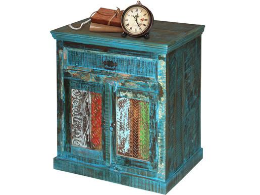 Nachttisch BONA Breite 80 cm aus Massivholz in blau