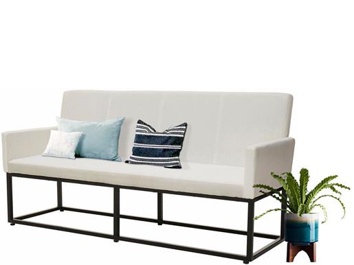 Sitzbank AURELIA 160cm Webstoff gepolstert in weiß