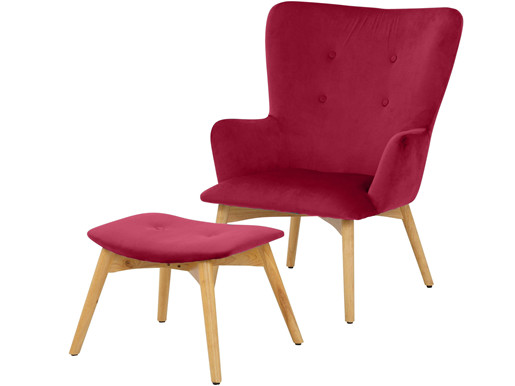 Sessel NEWTON mit Hocker in Samtoptik, rot