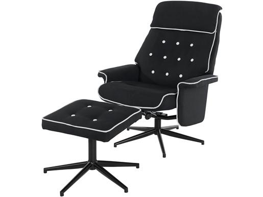 Relaxsessel NORTON mit Hocker aus Webstoff, schwarz/weiß