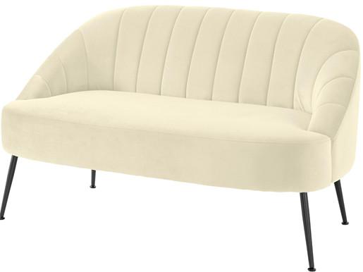 2-Sitzer QUENTIN mit Samt Bezug in creme, Breite 130 cm