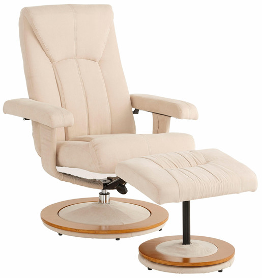 Relaxsessel COLBY aus Microfaser in Creme mit Hocker
