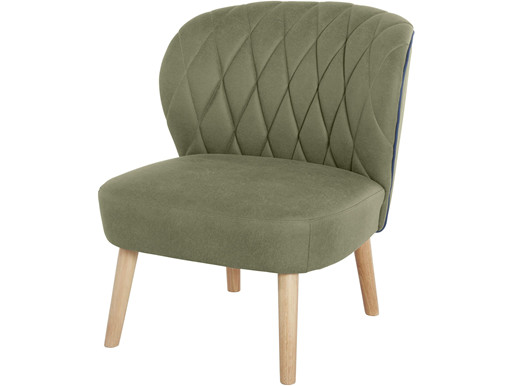 Sessel VENJA mit Mikrofaser Bezug in grün mit Holzbeinen