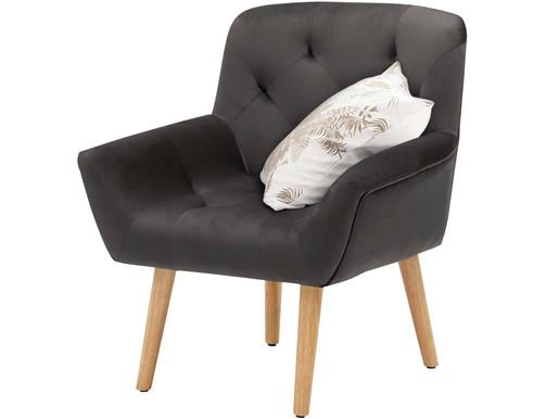 Gepolsterter Sessel SAMMY aus Samtbezug in grau