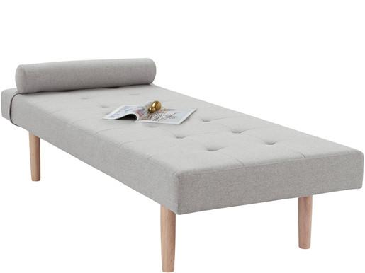 Tagesbett GILMORE in grau mit Holzbeinen, 200 cm