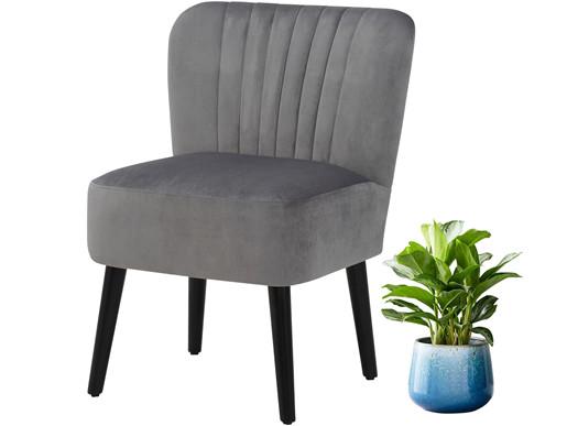 Stuhl ANTOS mit Bezug in Samtoptik,grau