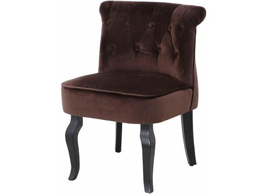 Sessel BEA aus Samtvelour mit Knopfheftung in braun