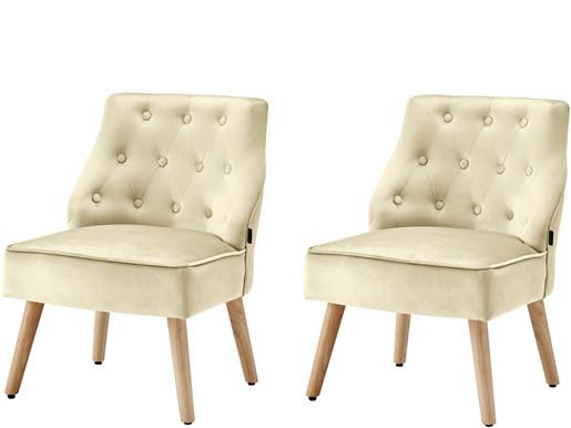 2er-Set Sessel EDDA mit Samtbezug in creme, Sitzhöhe 42 cm