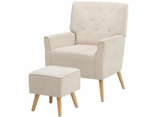 Sessel mit Hocker MICHI mit Relaxfunktion Microfaser creme