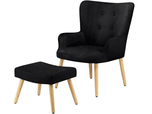 Sessel mit Hocker COLIN mit Samtbezug in schwarz