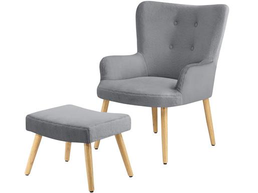 Sessel mit Hocker COLIN Bezug in Teddyoptik in grau