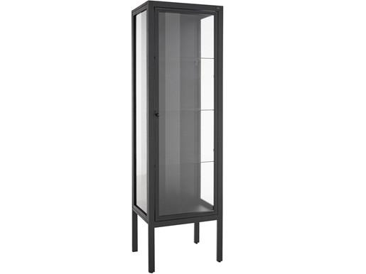 1-trg. Standvitrine ARIES aus Metall mit Glastür, 180 cm