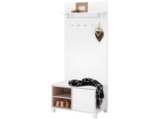 Kompaktgarderobe PEDRO modernes Design in weiß/eiche