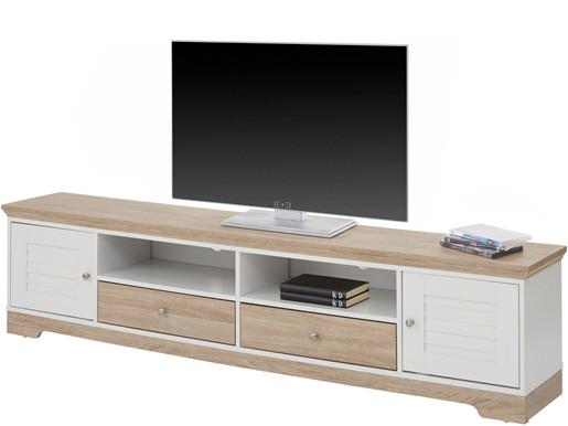 2-trg. TV Lowboard RAYMOND weiß/eiche, 200 cm Breite