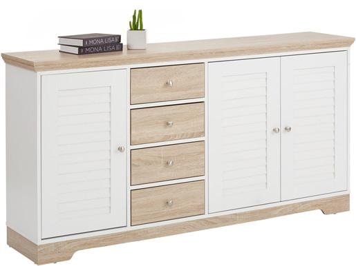 3-trg. Sideboard RAYMOND 4 Schubladen, weiß/eiche 160 cm