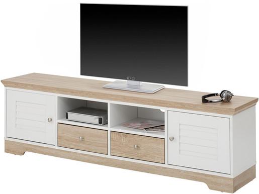 2-trg. Lowboard RAYMOND in weiß/eiche, Breite 160 cm