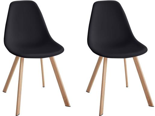 Modernes 2er-Set Stühle VENUS aus Kunststoff in Schwarz
