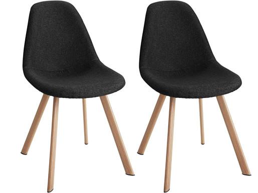 Modernes 2er-Set Stühle VENUS aus Webstoff in schwarz