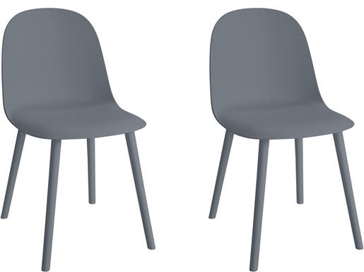 Modernes 2er-Set Stühle SCOTT aus Kunststoff in grau