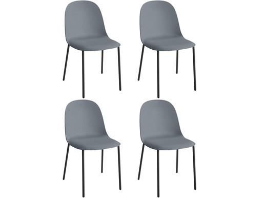 4er-Set Stühle BONITA aus Kunststoff und Metall in grau