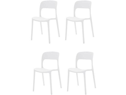 4er-Set Stühle WALTER aus Kunsstoff in weiß