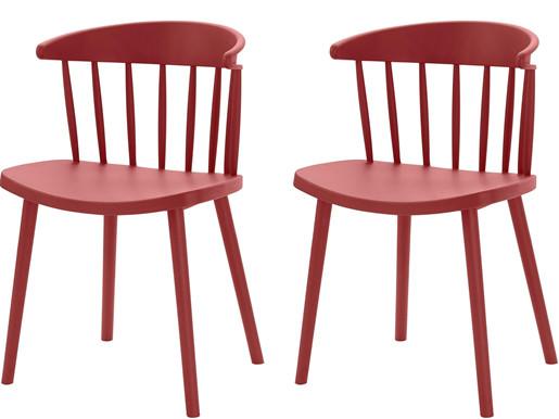 2er-Set Stühle GILL aus Kunststoff in rot
