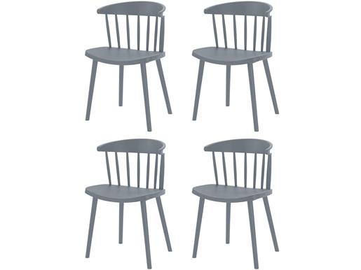 4er-Set Stühle GILL aus Kunststoff in grau