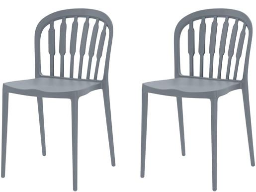 2er-Set Stühle LAERKE aus Kunststoff in grau