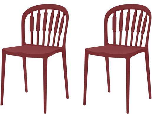 2er-Set Stühle LAERKE aus Kunststoff in rot