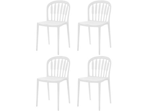 4er-Set Stühle LAERKE aus Kunststoff in weiß