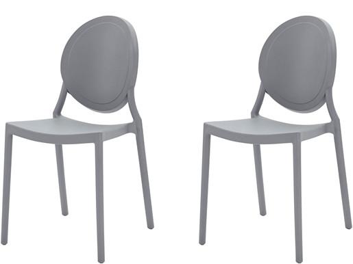 2er-Set Stühle WILMA aus Kunststoff in grau