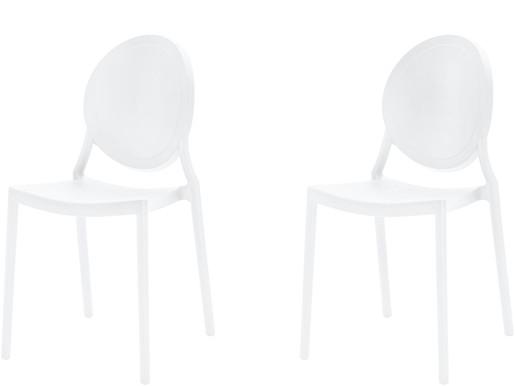 2er-Set Stühle WILMA aus Kunststoff in weiß
