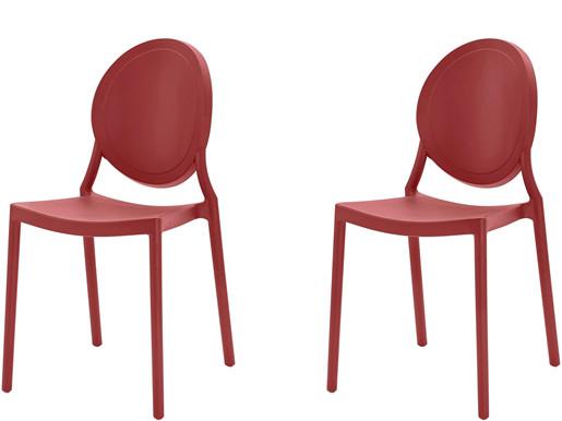2er-Set Stühle WILMA aus Kunststoff in rot