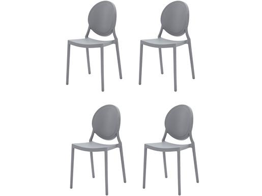 4er-Set Stühle WILMA aus Kunststoff in grau