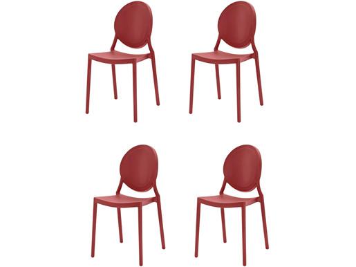 4er-Set Stühle WILMA aus Kunststoff in rot
