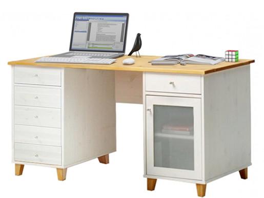 Schreibtisch SCALA 6 Schubladen aus Kiefer in weiß natur