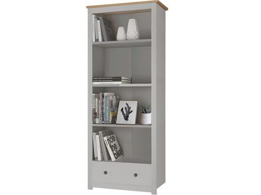 Bücherschrank EMILY mit Schublade in grau/eichefarben