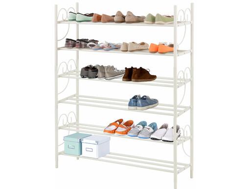3er Set Schuhregal ROSE aus Metall in cremeweiß, Höhe 120 cm