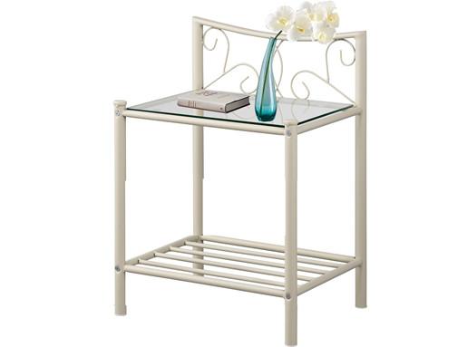 Nachttisch ROSE aus Metall in cremeweiß mit Glasplatte
