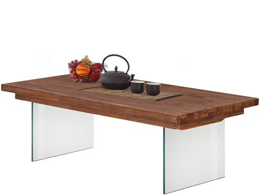 Couchtisch MIA aus Glas und Akazie in braun, Breite 120 cm