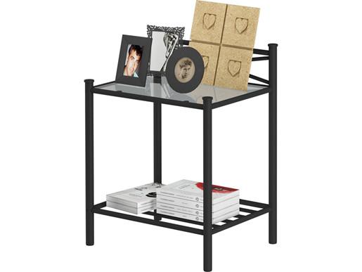 Nachttisch TESSA aus Metall in schwarz mit Glasplatte