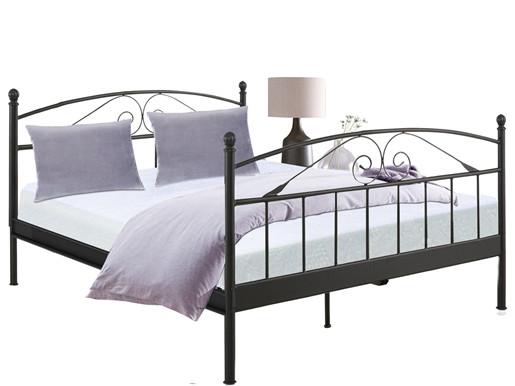 Bett FLORENZ 180x200 cm aus Metall in schwarz