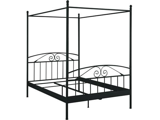Himmelbett FLOROENZ aus Metall in schwarz, 140x200 cm