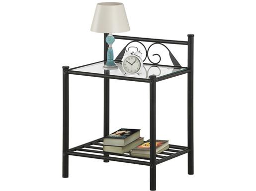 Nachttisch FLORENZ aus Metall in schwarz mit Glasplatte