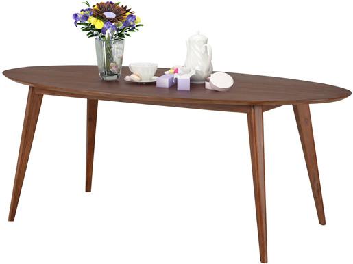 Ovaler Esstisch OLIVER aus Akazie massiv in braun, 160 cm