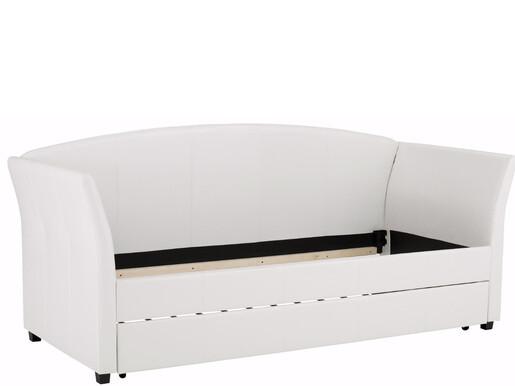 Tagesbett MARTHA aus Kunstleder in cremeweiß, 90x200 cm