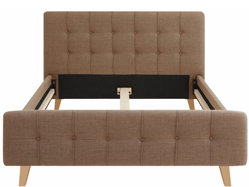 Polsterbett LIVIA 140x200 cm Polyester in cappucino