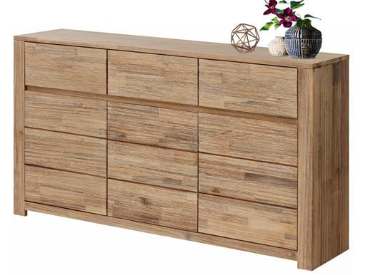 Sideboard WALDY 3-türig Akazienholz in hellbraun gebürstet