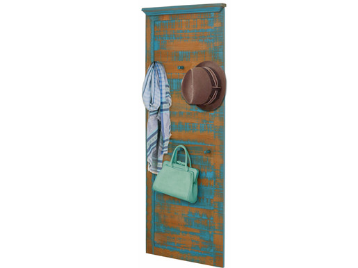 Garderobenpaneel MOLLA aus Kiefer massiv 6 Haken in Türkis
